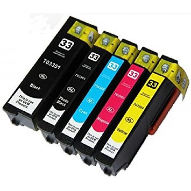 Conjunto Tinteiros Compatíveis Epson 33XL T3351 T3361 T3362 T3363 T3364 BK PBK C M Y