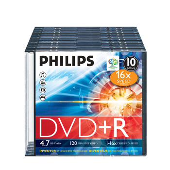 DVD+R Philips 4.7GB 16X Slim Case 10