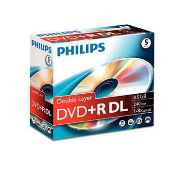 DVD+R Dual Layer Philips 8.5GB 8X Jewell Case 5