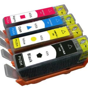 Conjunto Tinteiros Compatíveis HP 655 CZ109A CZ110A CZ111A CZ112A BK C M Y