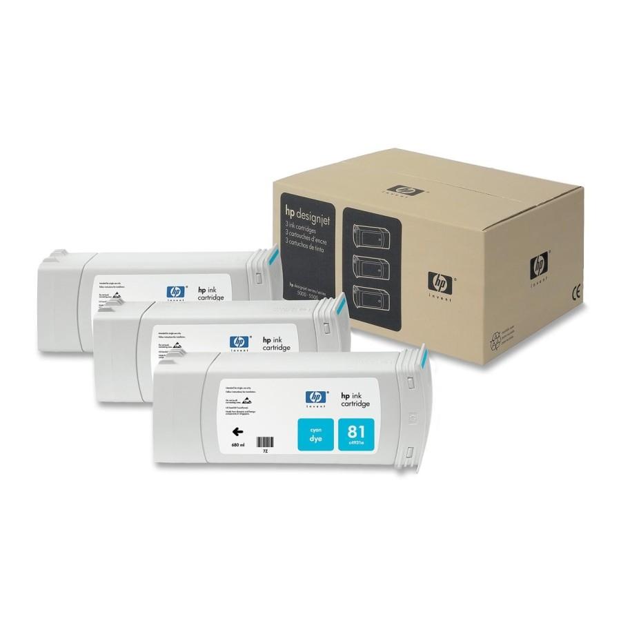 Tinteiro DesignJet 5000/5500 (C5067A) Nº81 Azul Pack3