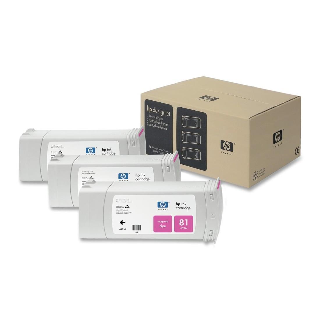 Tinteiro DesignJet 5000/5500 (C5068A) Nº81 Magenta Pack 3