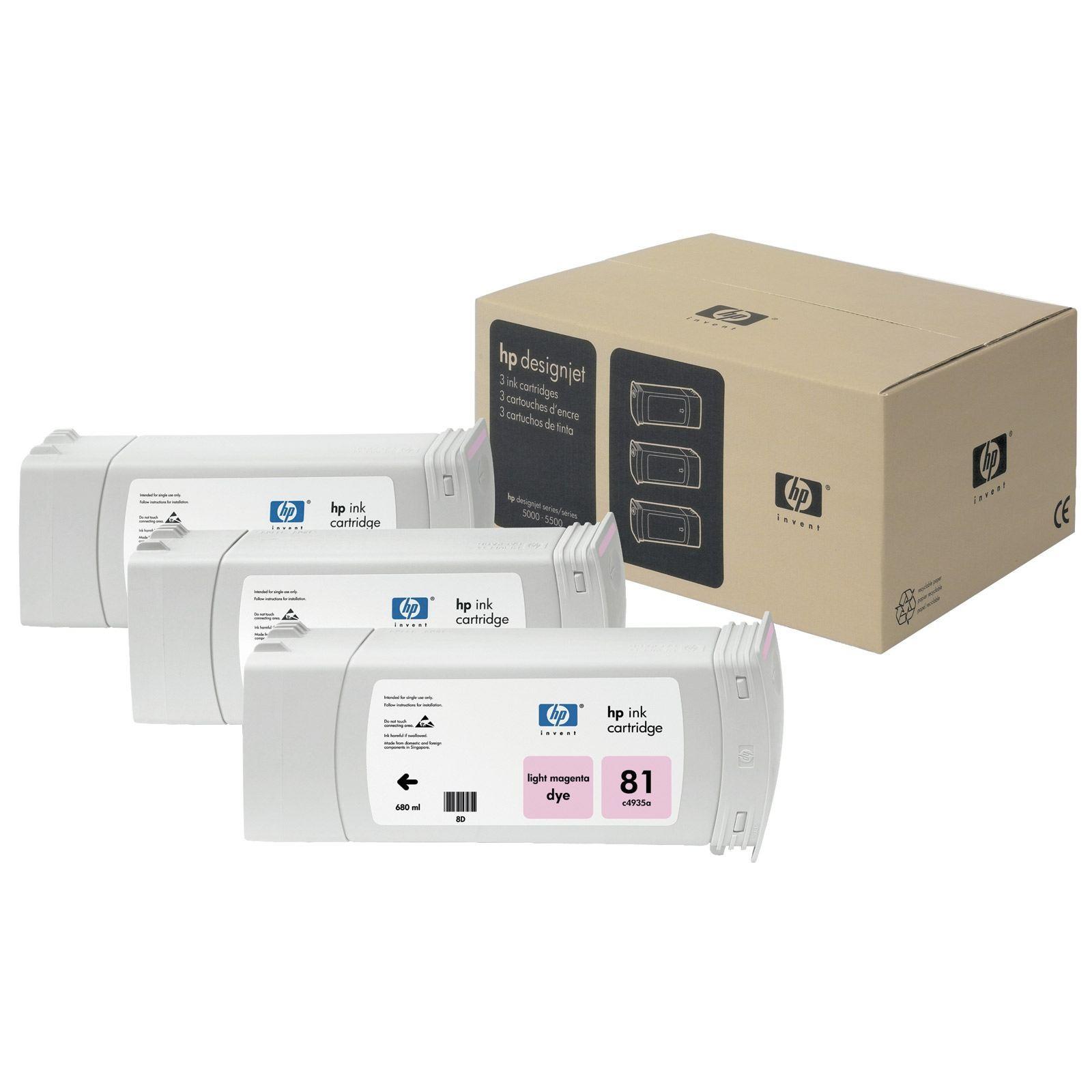 Tinteiro DesignJet 5000/5500 Nº81 Magenta Claro Pack 3