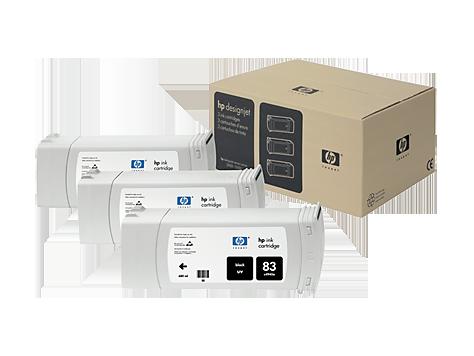 Tinteiro UV DesignJet 5000 (C5072A) Nº83 Preto Pack3