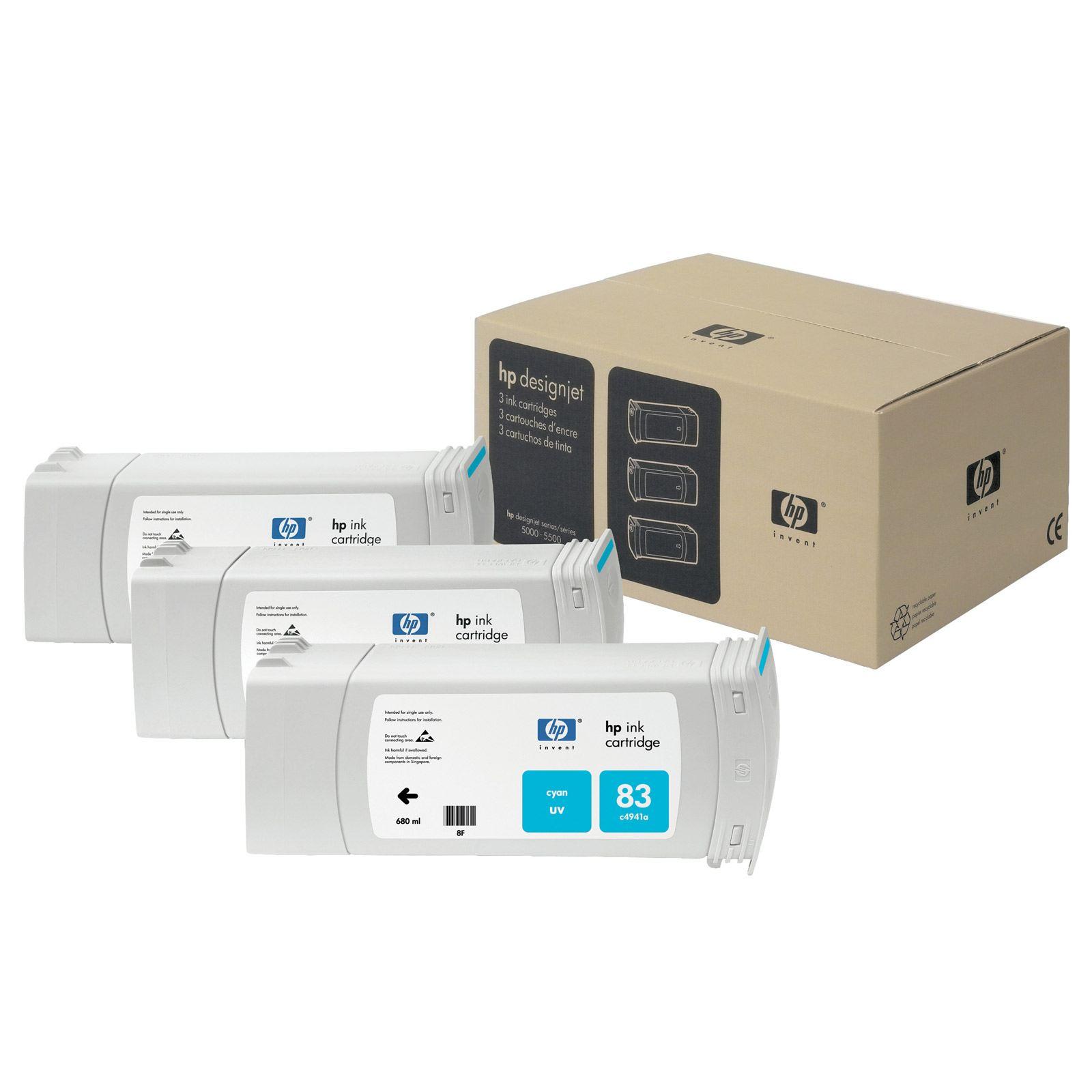 Tinteiro UV DesignJet 5000 (C5073A) Nº83 Azul Pack 3xC4941A
