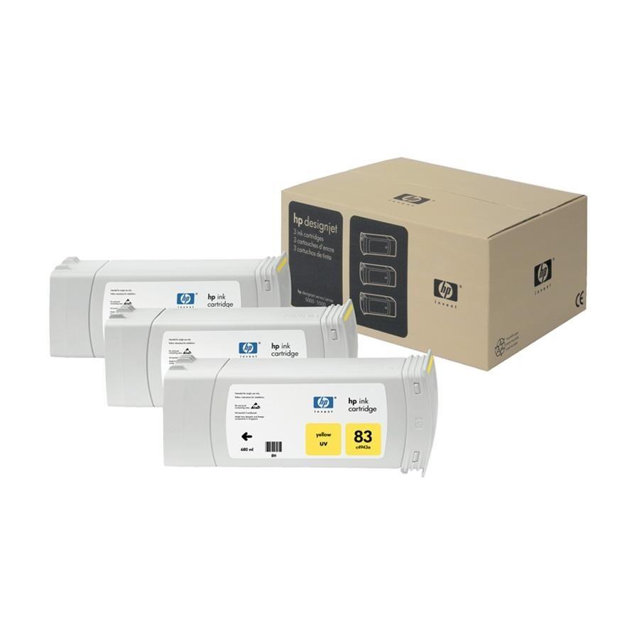 Tinteiro UV DesignJet 5000 (C5075A) Nº83 Amarelo Pack3