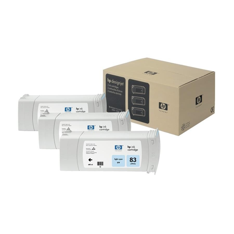 Tinteiro UV DesignJet 5000 (C5076A) Nº83 Azul Claro Pack3