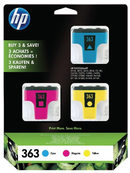 Tinteiro Nº363 Pack de 3 Cores (Y, M, C) com Tinta Vivera