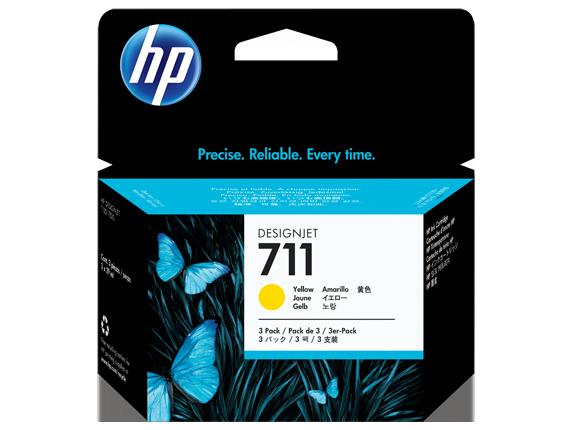 Tinteiro HP Dsignjet T120/T520 Nº711 Amarelo Pack3